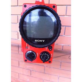 Tv Televisão Vermelha Antiga Vintage Funcionando Pequena