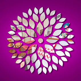 Acrílico Espelhado Decorativo Folhas Abstratas 1,00m Grande