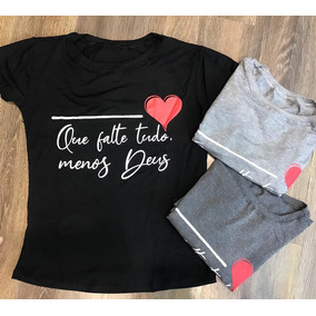 cafeec2a6 Kit C 3 T-shirts Blusa Roupa Feminina Frases Evangélicas