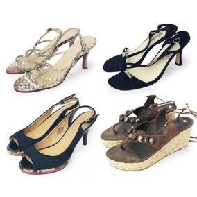 a7e98eb6d6e1fe Lote X 4 Sandalias Zapatos Cuero Verano Fiesta Nro. 37