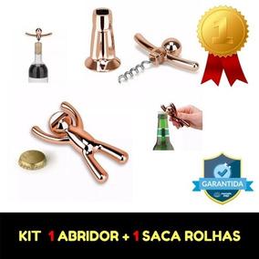 Kit 1 Abridor De Garrafas + 1 Saca Rolhas - Cobre