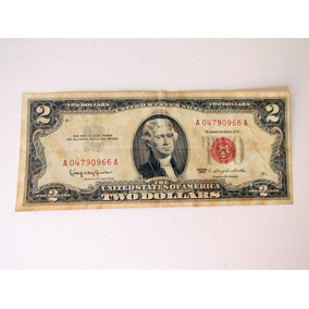 Cédula Antiga 2 Dólar Colecão Bc Séries 1963 A Selo Vermelho