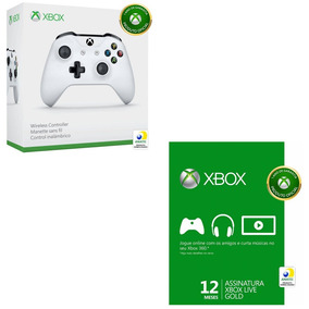 Kit Controle S/ Fio Xbox One S + Live Gold 12 Meses