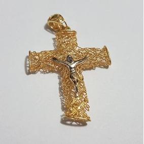 ba7ce92e34e3d Pingente Ouro 18k 750 Crucifixo Ninho C  Cristo Ouro Branco