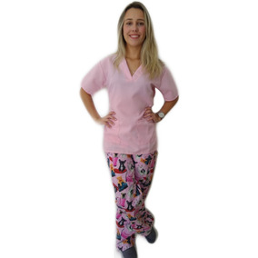 Pijama Cirúrgico Conjunto Feminino Rosa Claro Estilusvet