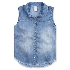 Camisa Jeans Infantil Menina Com Barra Desfiada Hering Kids 815fcf8461ae