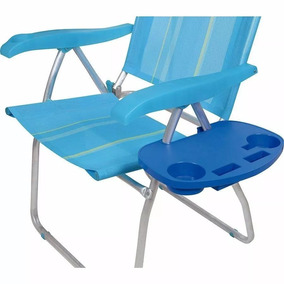 Mesa Portátil Azul Para Cadeira De Praia Mor