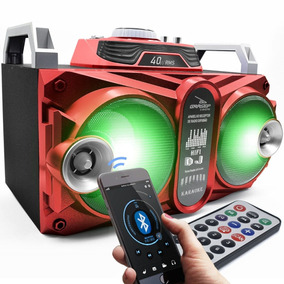 Caixa Som Amplificada Bluetooth 40w Led Dj Fm Usb Música Mp3