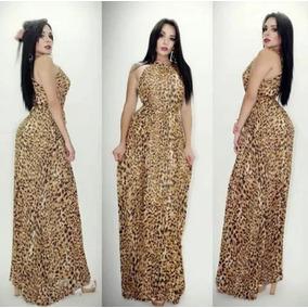 Vestido Feminino Estampado Onça Evangélico Longo Único