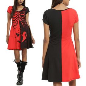Vestido Rojo Con Negro Spandex Mujer Talla S-m Gothic Punk