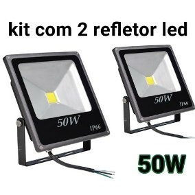 Refletor Led Kit 2 Peças Cob 50w Preto Bivolt 6500k Foxlux