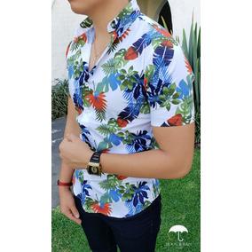 48fd80708c3a5 Camisa Slim Fit Blanca Hojas Verde Azul Naranjado Moon   Rai