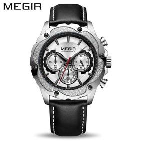 Relógio Masculino Megir 2070 Couro E Aço - Frete Grátis