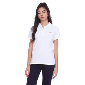 Camisa Polo Levis Feminina Slim Branca 806dbacfad2da