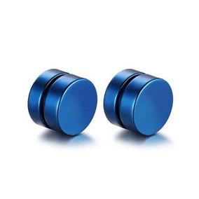 Brinco Masculino Magnético Imã Alargador Falso 8mm Azul