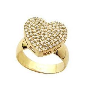 0b3d26e25f74f Anel Coração Ouro 18k Com 100 Pedras Diamante De 1 Ponto. R  2.999