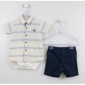 Conjunto Bebê Noruega Body Camisa Linho + Bermuda - Gg - Of 9edecb543d41c