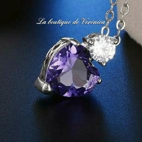 Collar Dije Corazón Morado Cristal Austriaco Tipo Swarovski