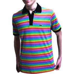 Camisa Lacoste Arco Iris Calcados Roupas E Bolsas Masculinas No