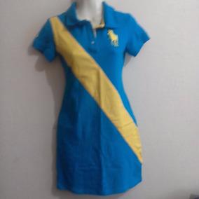 Houston Polo Club Vestido Tipo Polo Turq.amarillo