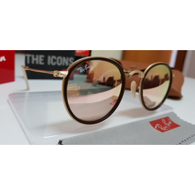 Óculos De Sol Ray-ban Round Dobrável Rb3517 Rosê Espelhado 33118951a9