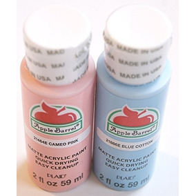 Apple Barril Pintura Acrilica Primavera Set, Color Rosa Y Az