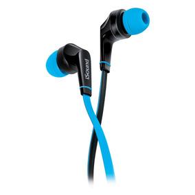 Audífonos Con Micrófono De Cable Plano Azul Em-60 Isound