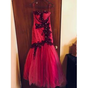Vestido Largo Rosa Fiesta Graduación Talla Chica
