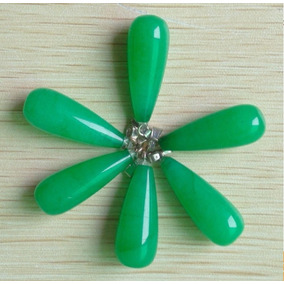 Dije Jade Malasio Verde Piedra Natural Forma Gota De Agua
