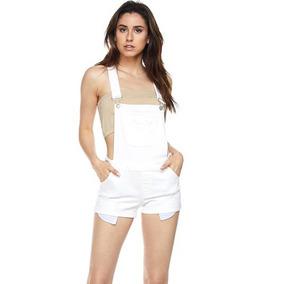 Overol Short Mezclilla Blanco
