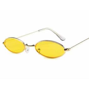 594acb1baf996 Óculos Sol Redondo Pequeno Trap Hype Retro Vermelho Amarelo