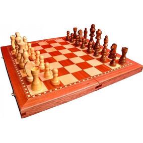 Backgammon Y Ajedrez Juego Madera Plegable 2en1 Fichas 87mm