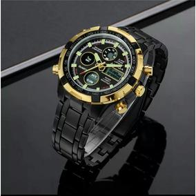 12313a8c139 Relógio Dourado Prata Amuda Masculino Luxo Original Promoção