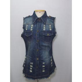95c9ea900b Colete Jeans Feminino Customizado - Casacos no Mercado Livre Brasil