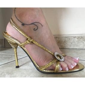 e3fff000da Sandalia Importada Dourada Strass Feminino - Sapatos no Mercado ...