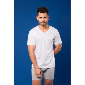 Camiseta Santana Cuello V Manga Corta Blanca Hombre