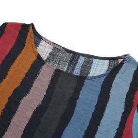 Vendimia Mujeres Suelto Colorido Rayas Impresión Vestido Co