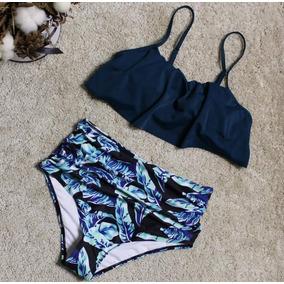 Bikini Olanes Vintage Retro Cintura Alta Mujer Azul Marino