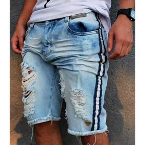 Kit 3 Pçs Bermudas Jeans Destroyed Rasgada Desfiada Listras