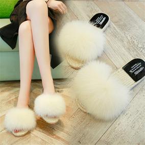 Nuevo Verano Grande Hairball Zapatillas Mujeres Talón Plano