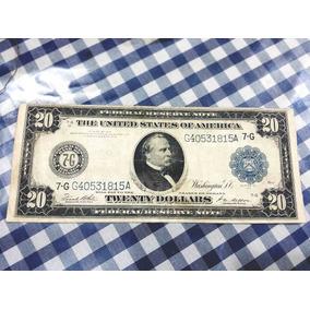 Cédula Antiga Vinte Dólares Us$ 20 Dollar 1914 Fed