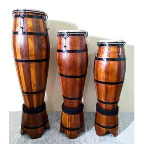 Atabaque Trio Madeira Tarraxa 60 - 70 - 80 Cm