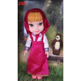 Boneca Masha C/ Urso 33cm Canta Inglês Articulado Brinquedo