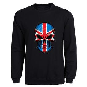 1c9124ea6f Moletom Gola Redonda Caveira Bandeira Reino Unido Unissex