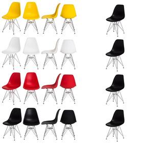 Kit 4 Cadeiras Eiffel Eames Dsr Base Cromada Frete Grátis!