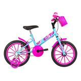 Bike Aro 16 Infantil Menina C/rodinhas Ultra Bikes Azul/rosa