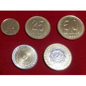 Moeda Argentina - Lote - 10, 25, 50 Centavos; 1 E 2 Pesos.