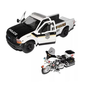 Ford F-350 + Moto Harley Electra Guide Policia 1:24
