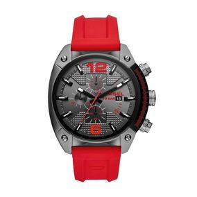 Diesel - Reloj Dz4481 Overflow Gunmetal And Red Silicone Par