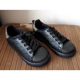 Zapatos Tenis Escolar Negro *agujetas Niño